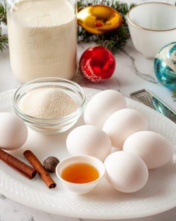 Ingredients for fresh homemade eggnog recipe.