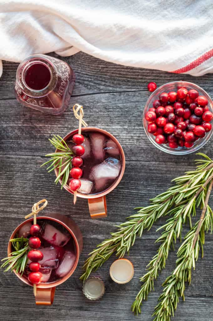 Refreshing Moscow Mules with cranberry juice, vodka, and ginger ale. No lime mules!