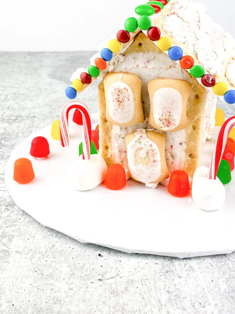Front view of the easy ginger bread house made of pop-tarts.