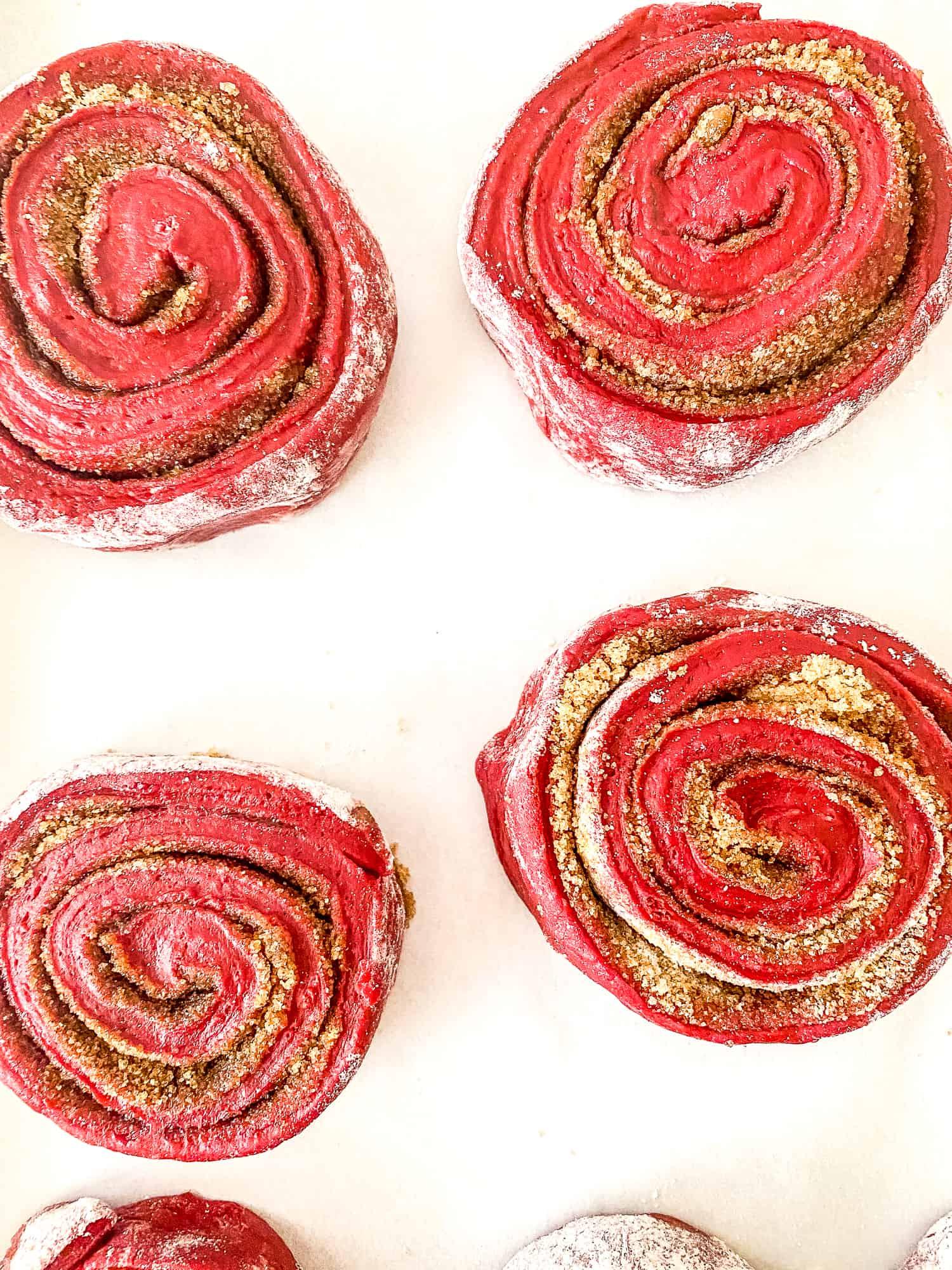 Fresh baked red velvet cinnamon rolls.