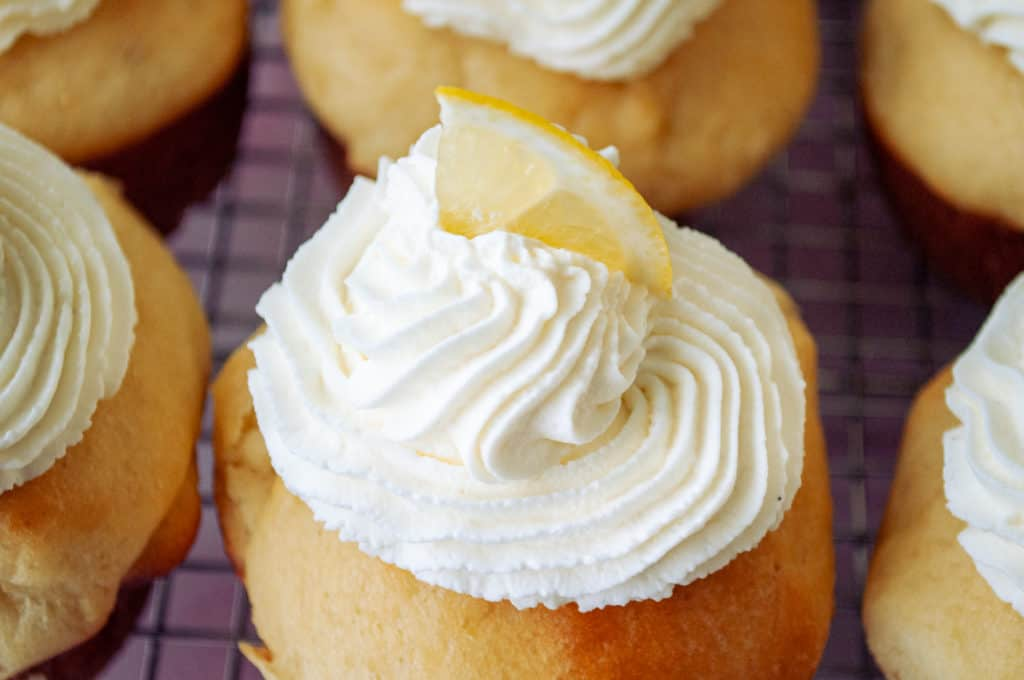 Chantilly Cream with sliced lemon.