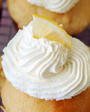 Chantilly Cream with sliced lemon.
