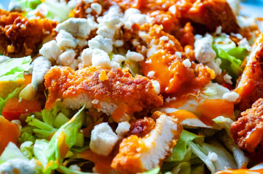 a finished shot of the buffalo chicken salad.