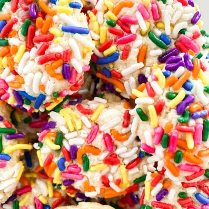 Close up baked cream cheese sugar cookies.