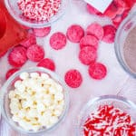 Ingredients for Red Velvet Hot Cocoa Bombs.
