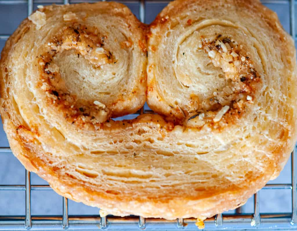 Crispy layers in a puff pastry appetizer.