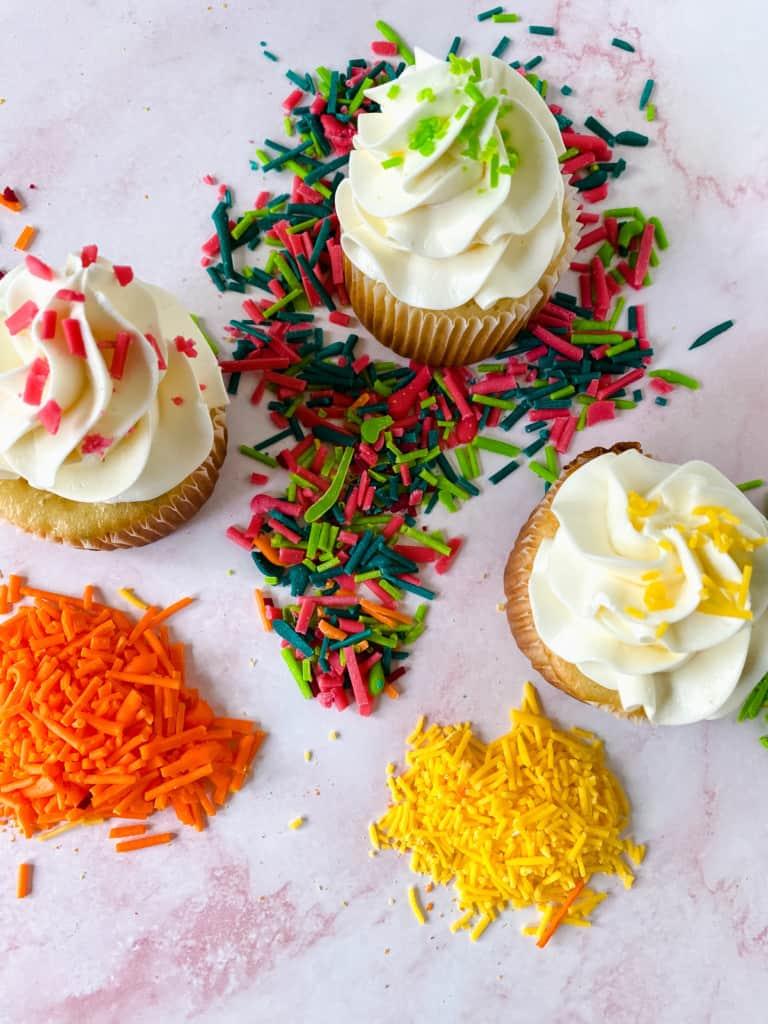 Homemade Sprinkles on cupcakes