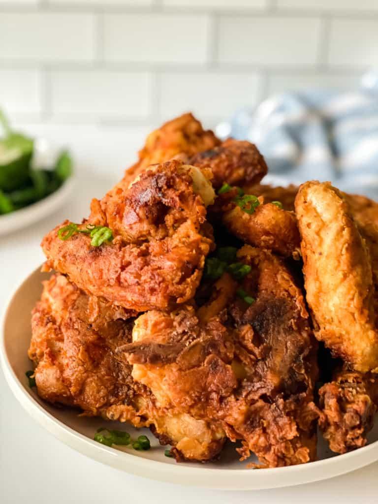 Crispy fresh fried chicken.