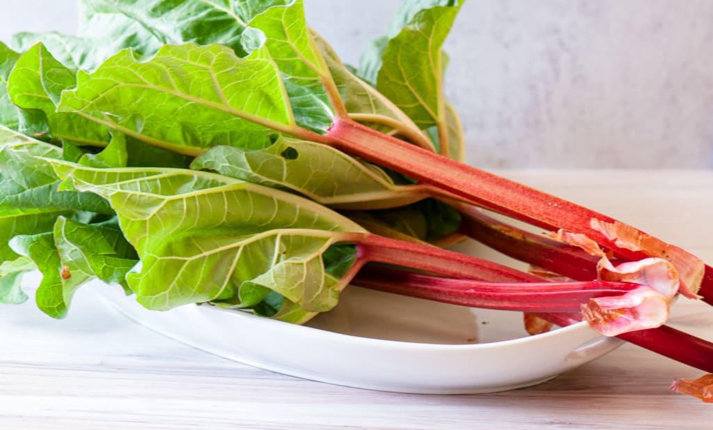Fresh rhubarb on a platter.