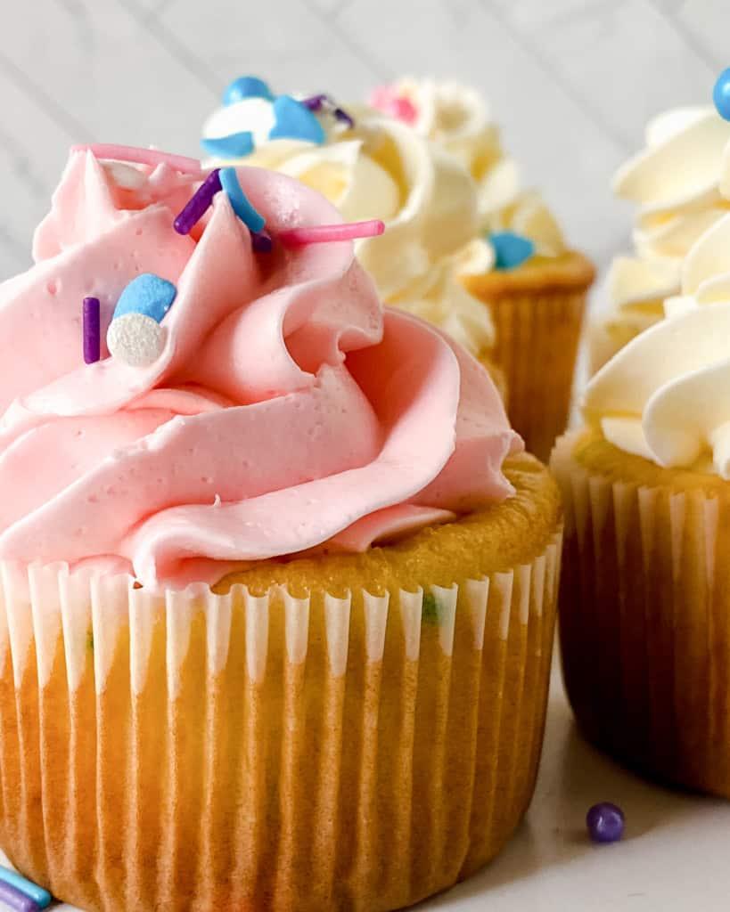 Semi-Homemade Buttercream on homemade cupcakes.