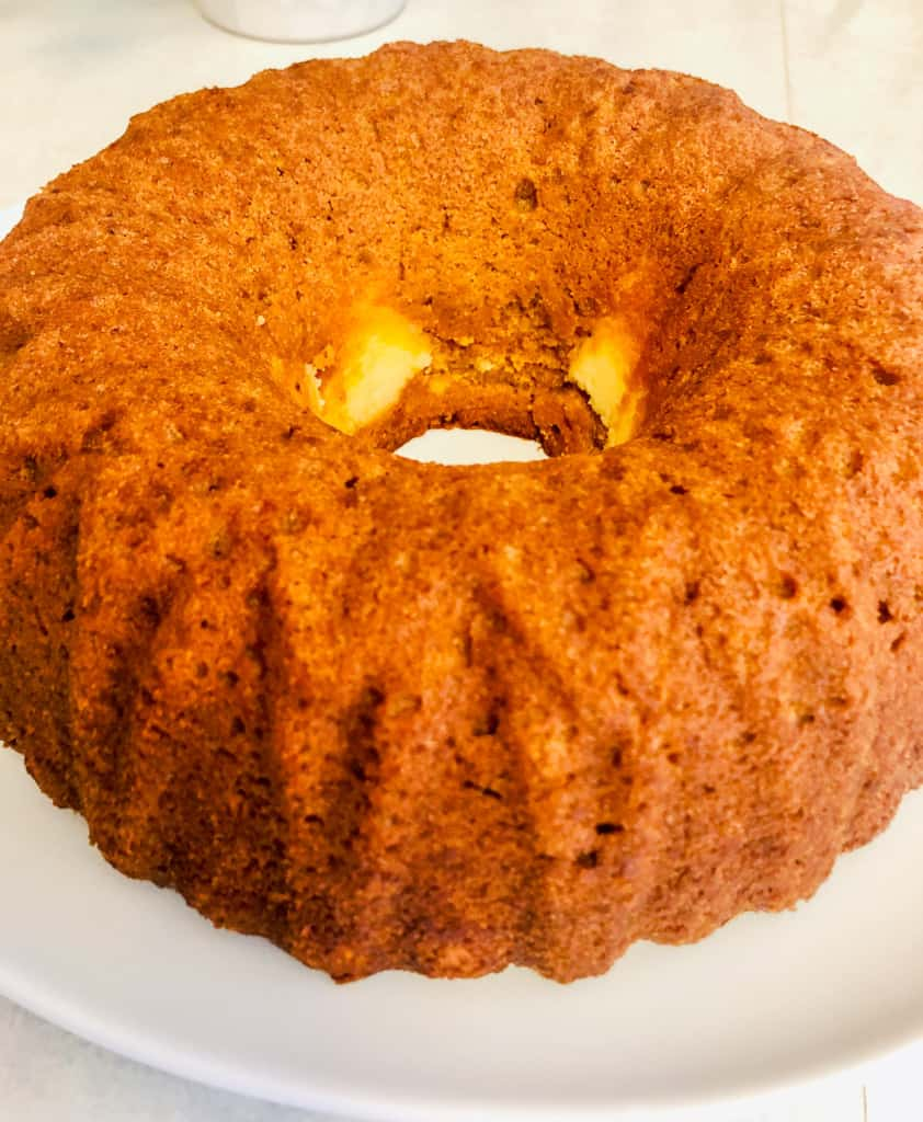 Unfrosted pumpkin bundt cake.