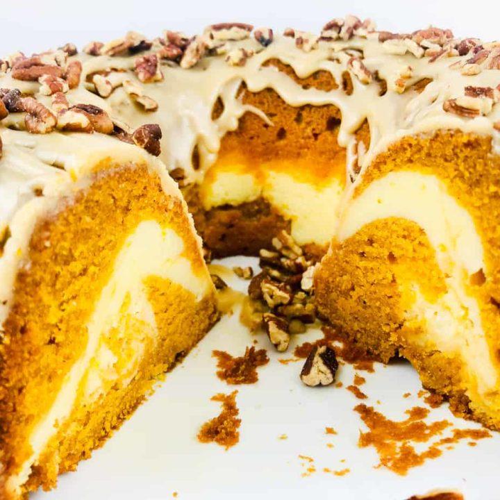 Pumpkin Bundt Cake with a Cream Cheese Swirl