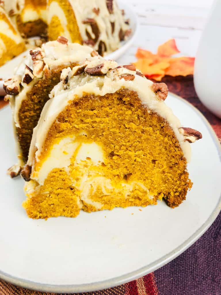 One slice of pumpkin swirl bundt cake.