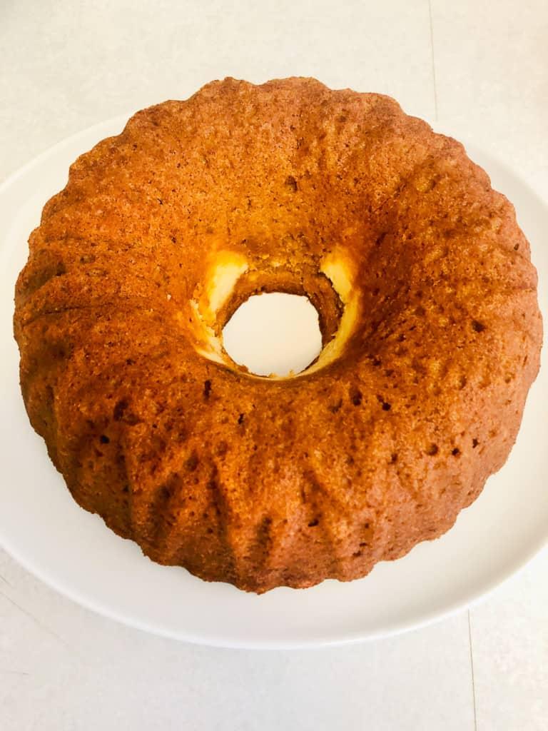 Unfrosted bundt cake.