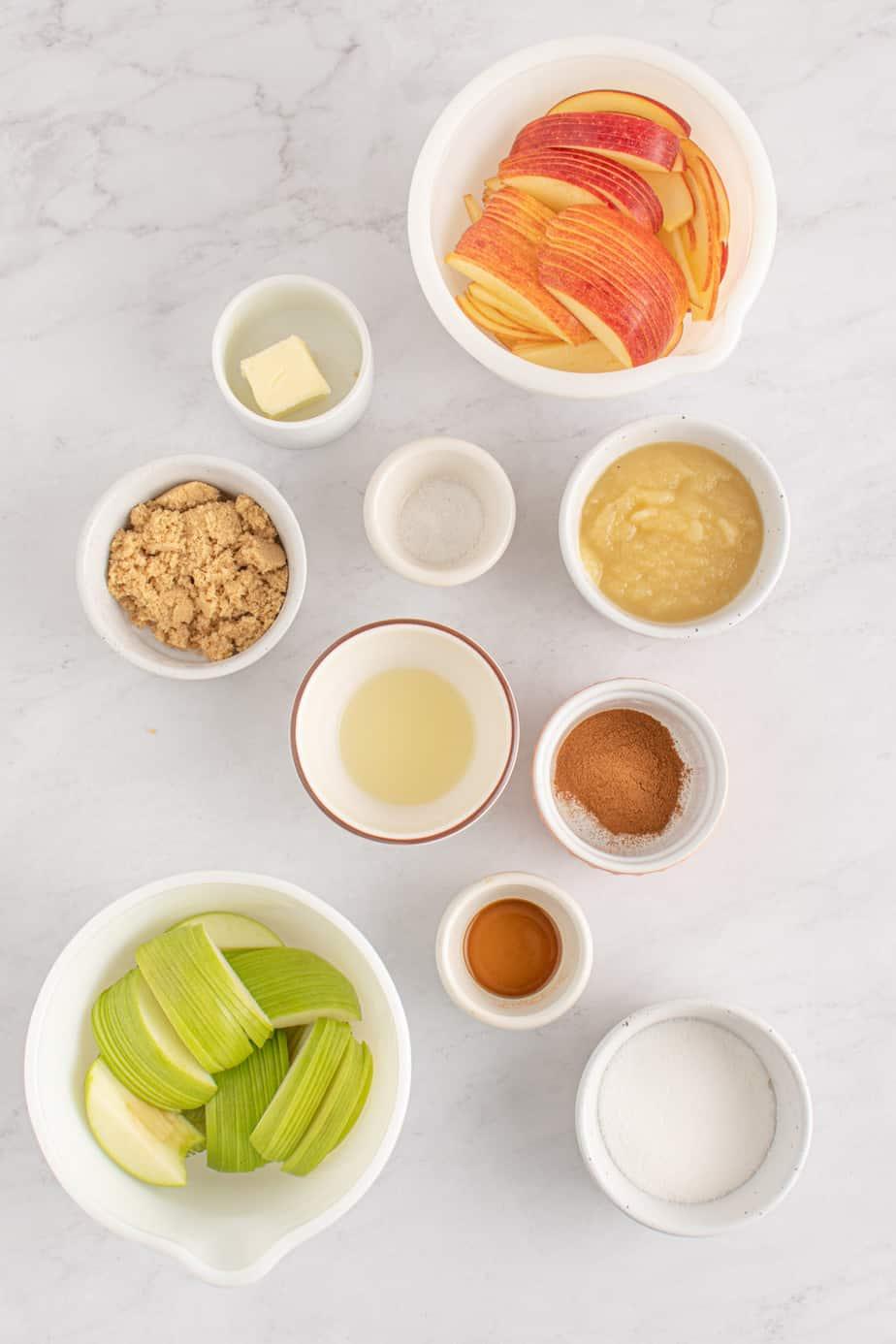 Apple Tart recipe ingredients.