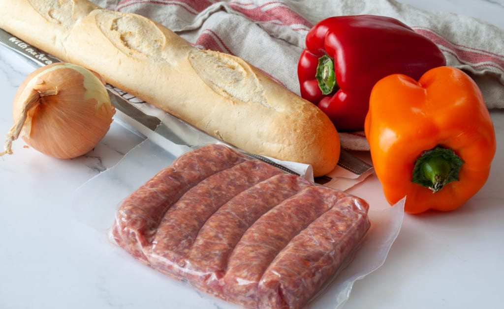 Ingredients for Instant Pot Sausages and Peppers.