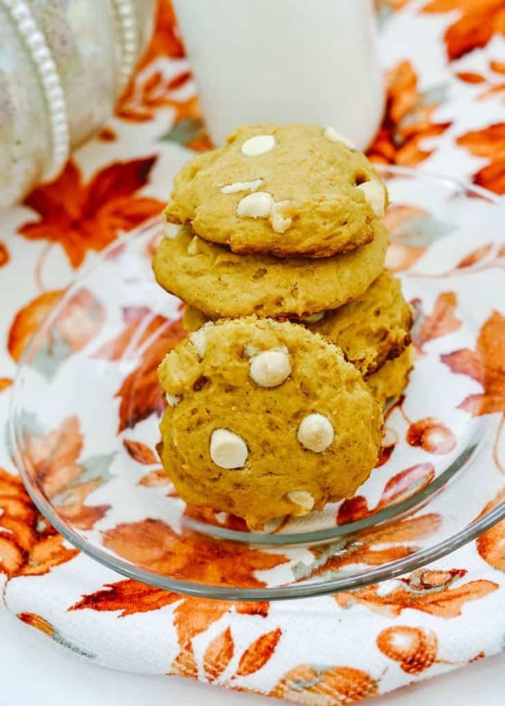 White chocolate chip pumpkin cookies.