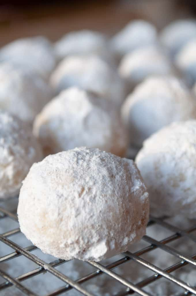 Close up of RUssian TEa Cakes.