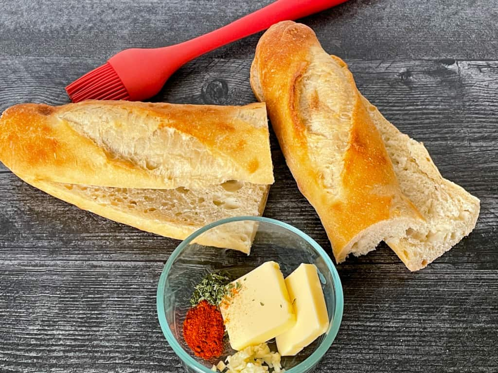 Ingredients for the BEST GARLIC BREAD you'll ever make!