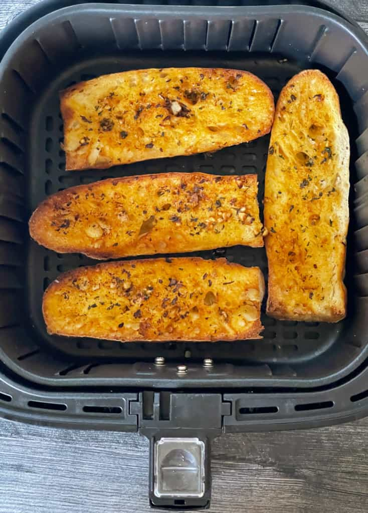 Garlic Toast in the Air Fryer Basket.